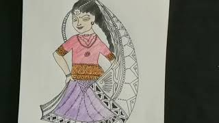 Colorful bride-doll drawing/colorful painting/easy drawing/part 2
