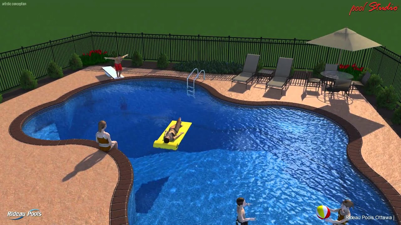 Rideau Pools Ottawa - 3-D Pool Design - Freeform Pool - YouTube
