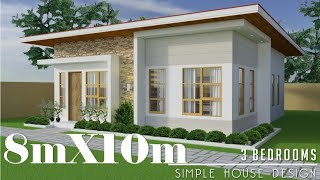 8mx10m (80sq.m) Simple House Design with 3 Bedrooms