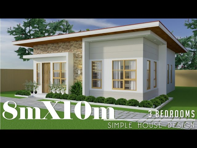 8mx10m 80sq M Simple House Design With 3 Bedrooms Youtube