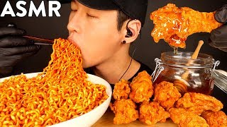 ASMR SPICY FIRE NOODLES & HONEY GLAZED FRIED CHICKEN MUKBANG (No Talking) COOKING & EATING SOUNDS