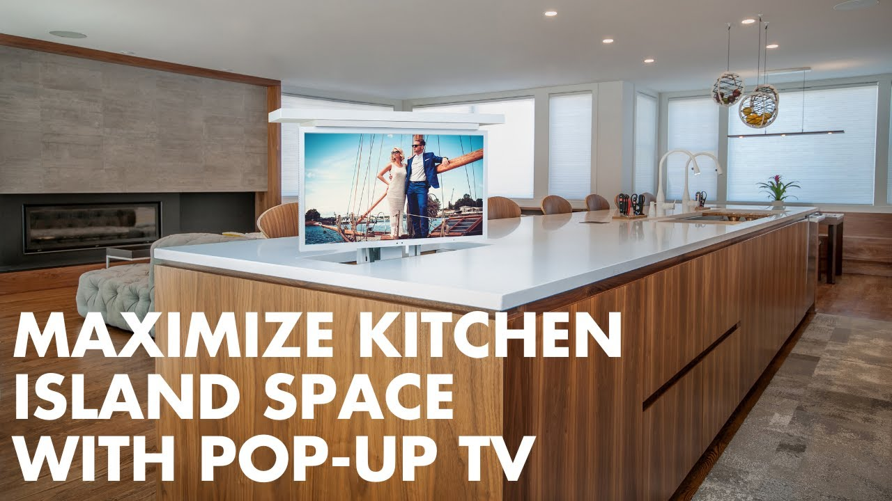 kitchen island with tv install a pop up tv lift to make use of island space 5231