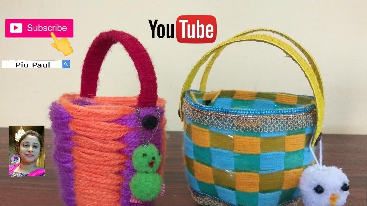 Make mini basket using plastic bottle/How to make plastic ...