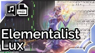 Elementalist Lux login theme - League of Legends (Synthesia Piano Tutorial)