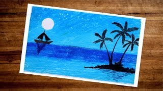 Landscape Moonlight Scenery Drawing With Oil Pastel   Night Sea Drawing With Ship And Tree