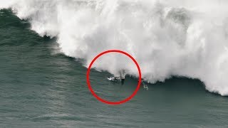 Surfer Experiences Terrifying Wipeout in Nazare, Portugal