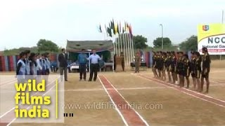 Kho Kho players warm up before the match during NCC National Games