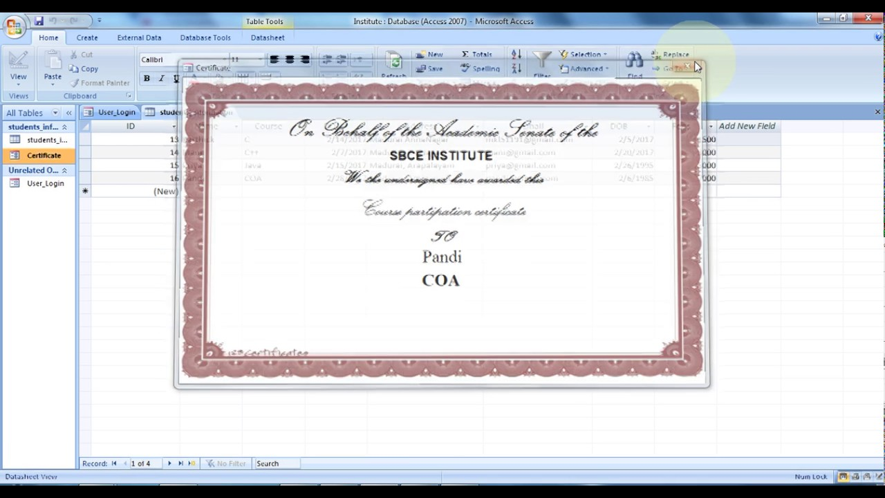 Microsoft Access How To Create Certificate Design Part 2 Youtube