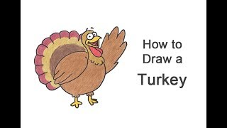 How to Draw a Turkey (Cartoon) for Thanksgiving!