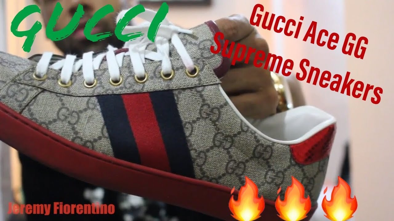 c12f856bf GUCCI ACE GG SUPREME SNEAKER REVIEW - YouTube