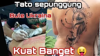 Bikin Tato Di Punggung Cewek Bule Ukraina ● Gila Kuat Banget 😂 Timelapse Tattoo