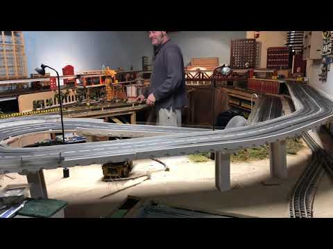 Carrera slot car MTH O gauge layout overhead view