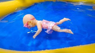 Mainan boneka bayi bisa berenang so cute!  || Swimming baby doll