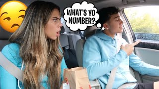 FLIRTING WITH DRIVE THRU EMPLOYEES IN FRONT OF MY GIRLFRIEND!! *BAD IDEA*
