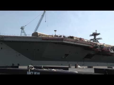 Gerald R. Ford (CVN 78) moored pierside at Newport News Shipbuilding
