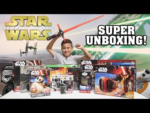 STAR WARS Super TOY Unboxing!!! The Force Awakens Surprise Box!: All products and other consideration provided by Target http://www.target.com/StarWars #ShareTheForce @Target  Today, we're opening a HUGE Star Wars Box filled with a bunch of cool new Star Wars The Force Awakens toys that were released on Force Friday at Target!  Watch as Evan takes a look at the Hasbro Blade Builders Jedi Master Lightsaber, Blade Builders Kylo Ren Deluxe Electronic Lightsaber, Disney Infinity 3.0 Edition Starter Pack, Remote Control BB-8, Star Wars Jedi Holocron, Rey's Speeder Bike (Jakku), The Force Awakens X-Wing Miniature Game, The Black Series 6-inch Kylo Ren action figure, Micro Machines Episode 7 First Order Star Destroyer Playset, Air Hogs remote control Millenium Falcon, Pop! Star Wars Episode 7 Kylo Ren and Captain Phasma, and the Kylo Ren Deluxe Costume!  Our 2nd Channel EvanTubeRAW: http://www.youtube.com/evantuberaw Our Gaming Channel EvanTubeGaming:  http://www.youtube.com/evantubegaming  EvanTubeHD Merchandise NOW AVAILABLE!: http://www.rodeoarcade.com/collections/evantubehd  FOLLOW US! Instagram: http://www.instagram.com/evantubehd Facebook: https://www.facebook.com/EvanTubeHD Twitter: https://twitter.com/EvanTubeHD  Production Music courtesy of Epidemic Sound Royalty Free Music by http://audiomicro.com/royalty-free-music Sound Effects by http://audiomicro.com/sound-effects