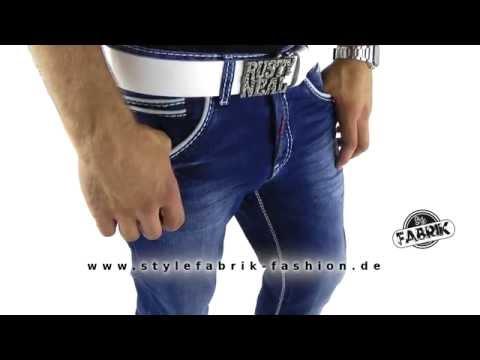 Rusty Neal Herren Jeans Regular Fit Used Look mit weißen Kontrastnähten blau