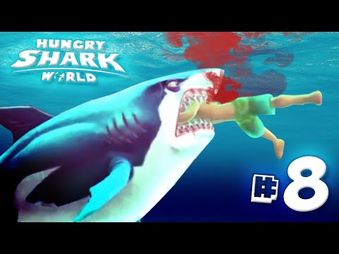 GREAT WHITE SHARK EATS YOU ALL!! - Hungry Shark World | Ep8 HD