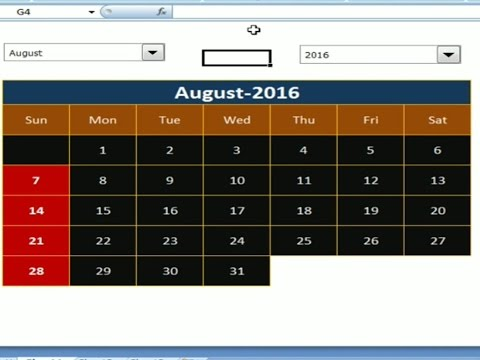 how to create dynamic calendar in excel