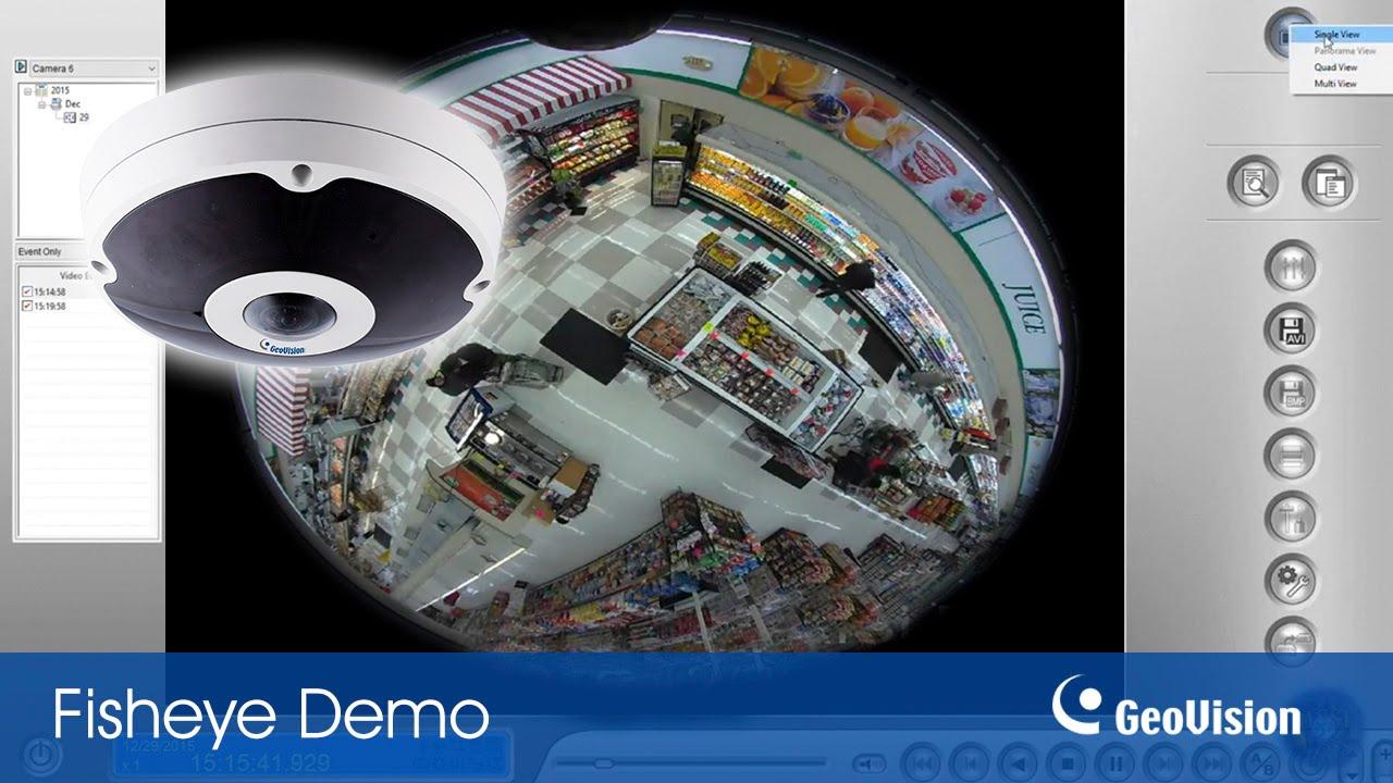 GeoVision Fisheye IP camera in retail - YouTube