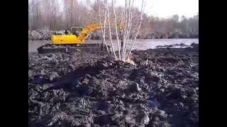 Создание  озера на месте болота экскаватором амфибией компании