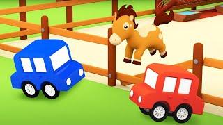 4 машинки и сбежавшая лошадка Развивающие мультики для малышей про машинки
