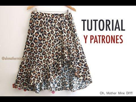 cb8a0aa47 Aprender a coser: Falda asimétrica con volante (patrones gratis ...