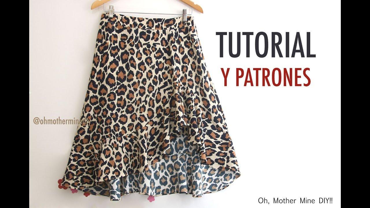 e8e015bc0 Aprender a coser: Falda asimétrica con volante (patrones gratis)