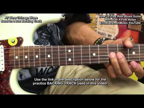 How To Play  SLOW A7 BLUES Guitar Solo With 4 NOTES EricBlackmonGuitar