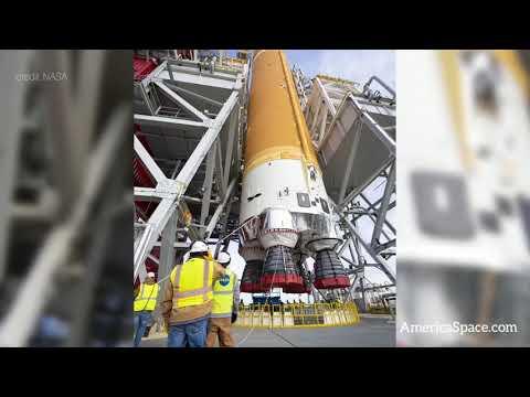 First SLS Moon Rocket Installed For Test Firing