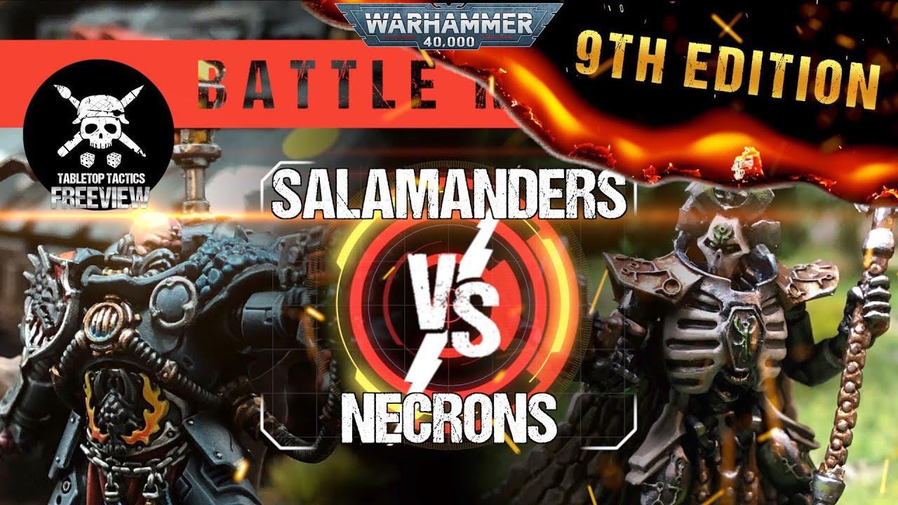 Warhammer 40k 9th Edition Battle Report: Salamanders vs Necrons 1750pts