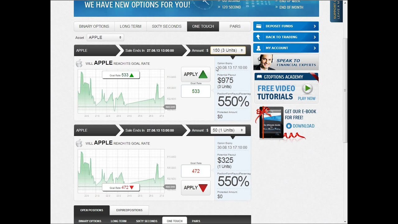 One touch binary options software