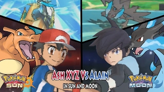 Pokemon Sun and Moon: Kalos Ash Vs Alain (Ash Charizard Vs Mega-Charizard X)