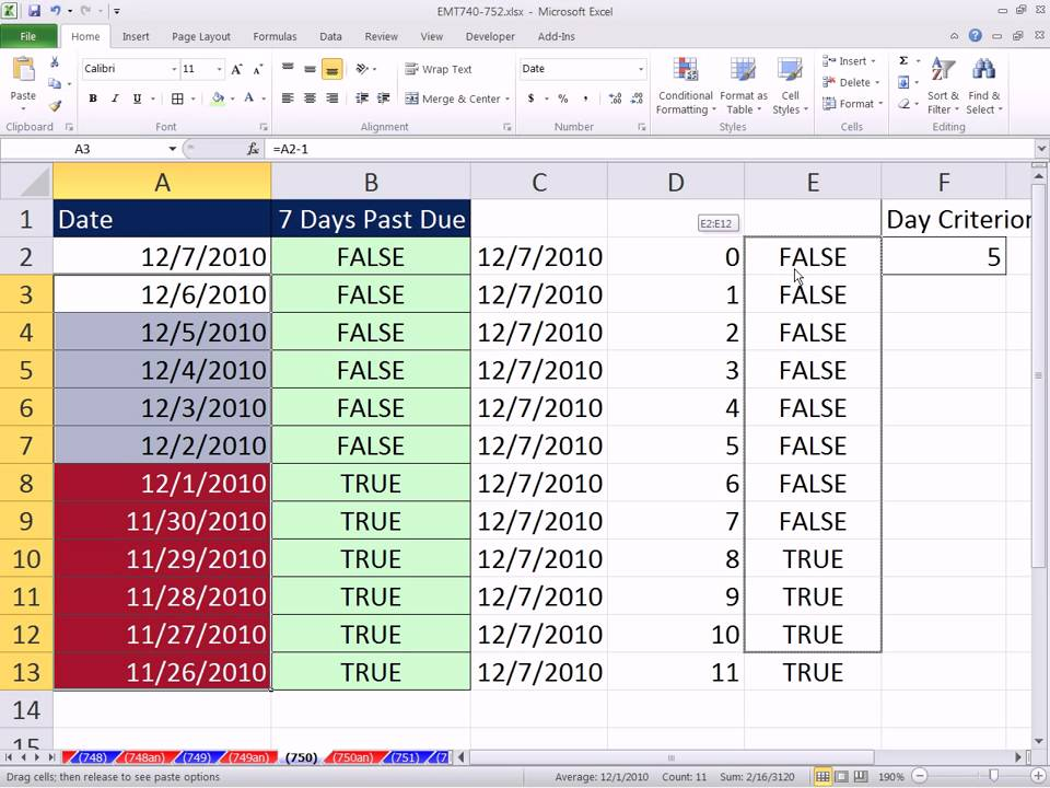 Excel 2007 count function dates