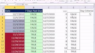 Excel Magic Trick 750: 7 Days Past Due Conditional Formatting & Logical Formula