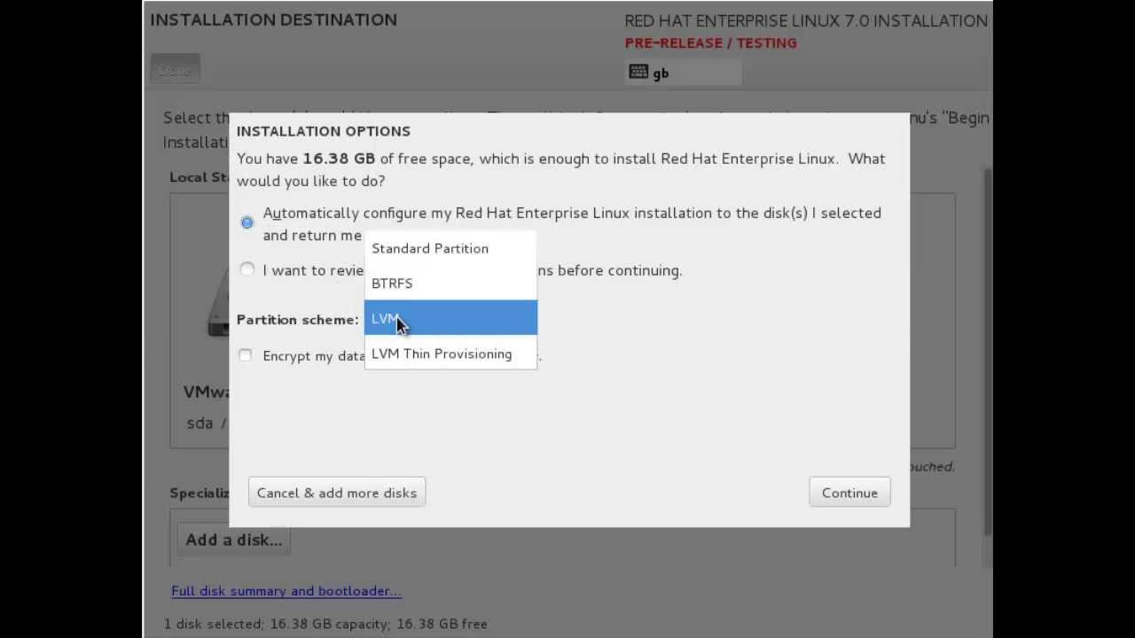 Red Hat Enterprise Linux 7 Install