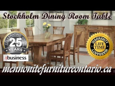 Double Pedestal Solid Wood Mennonite Stockholm Dining Room Table and Chairs, Newmarket Ontario.