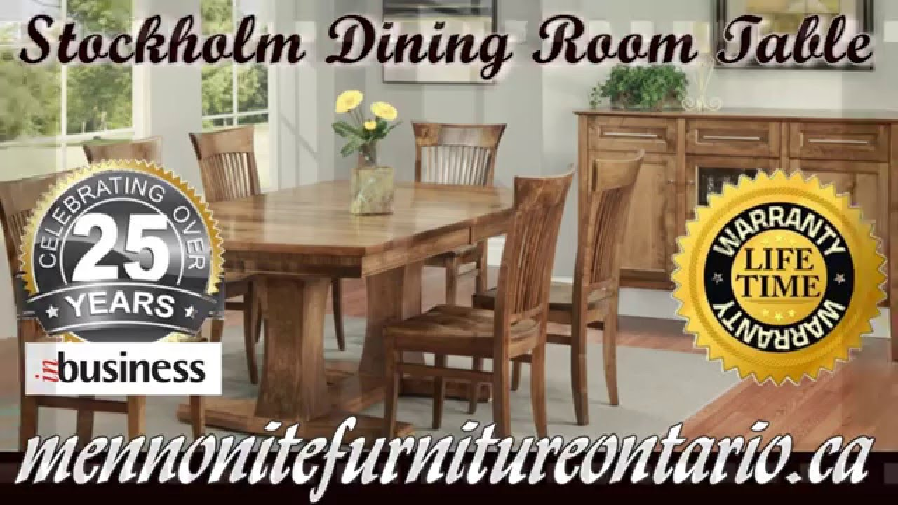 Double Pedestal Solid Wood Mennonite Stockholm Dining Room Table And Chairs Newmarket Ontario