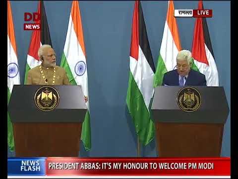PM Modi & President Mahmoud Abbas of Palestine at a Joint Press Meet