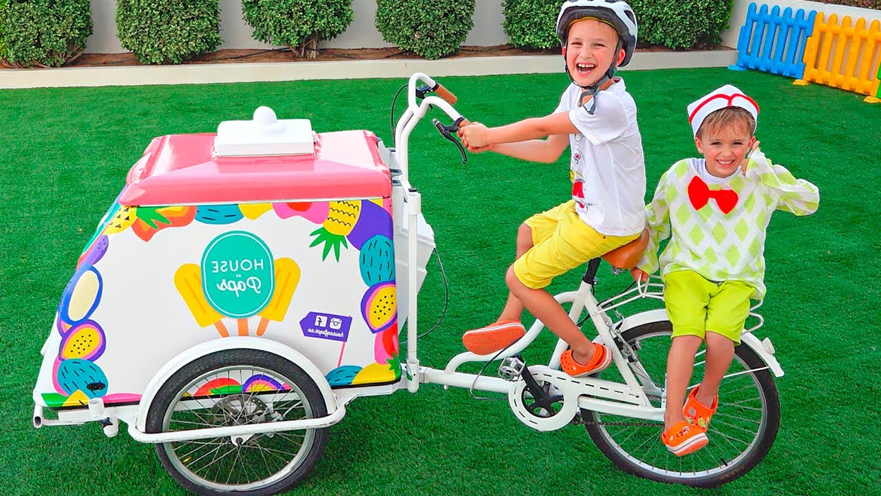 Download Niki pretend play selling ice cream and want new ice cream carts