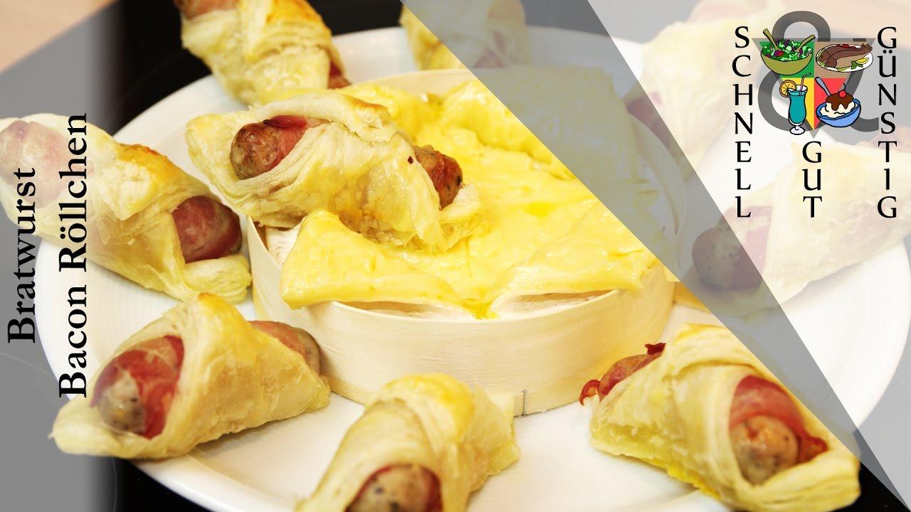bratwurst bacon r llchen schnell gut g nstig kochen snack abendessen party youtube. Black Bedroom Furniture Sets. Home Design Ideas