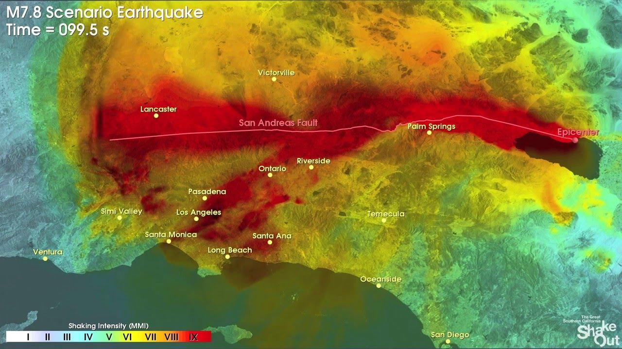 Southern California Earthquake Simulation 2016 7 8m Youtube