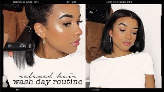 my updated wash day routine   short & relaxed hair.
