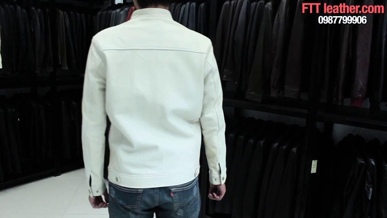 Áo khoác da nam màu trắng da đẹp, áo khoác da dê