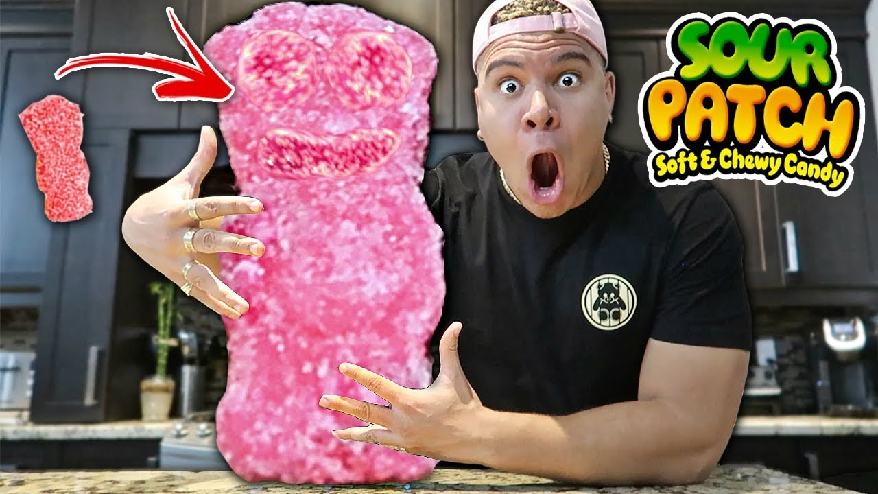 DIY GIANT SOUR PATCH KID!! How to Make DIY Edible GIANT GUMMY FOOD! (WORLD  RECORD CANDY)