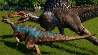 Spinosaurus vs All Hadrosaurs (Including Olorotitan)   Jurassic World Evolution (1080p 60FPS)