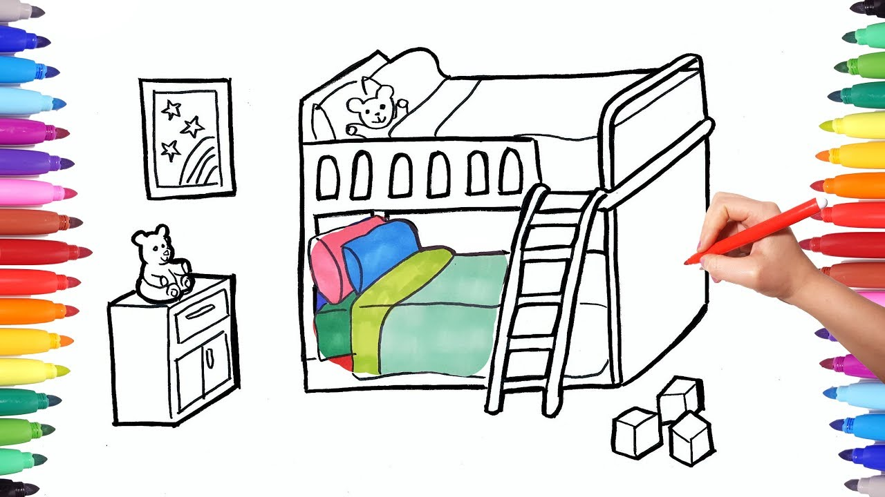 how to draw a children bedroom with bunk bed drawing and painting rh youtube com