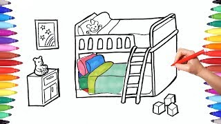 How to Draw a Children Bedroom with Bunk Bed | Drawing and Painting Bedroom for kids | Learn Videos