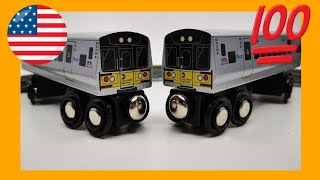 unboxing Munipals MTA LIRR M7 2-car set wooden toy train (05462)