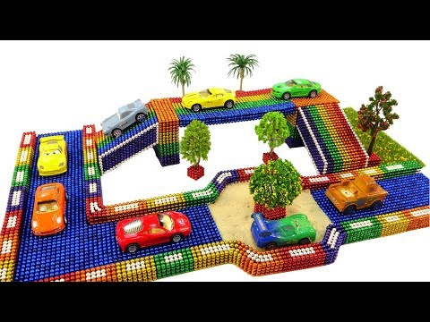 DIY How To Make Rainbow Drive Rolling Cars Toy With Magnetic Balls, kinetic Sand 💖 Surprise Balls